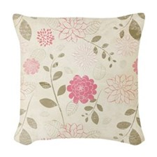 Pink Flowers Woven Throw Pillow