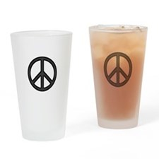 Round Peace Sign Drinking Glass