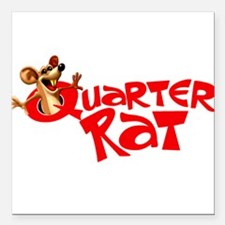 "Quarter Rat Logo Square Car Magnet 3"" x 3"""