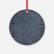 Blue Denim Pocket Ornament (Round)