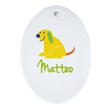 Matteo Loves Puppies Ornament (Oval)