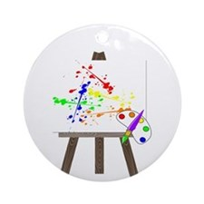 Artist Easel Ornament (Round)