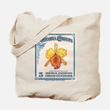 1947 Colombia Cattleya Dowiana Orchid Stamp Tote B
