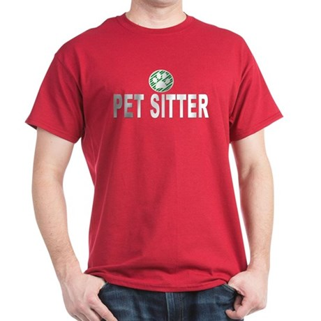 Pet Sitter Green Stripes Dark T-Shirt