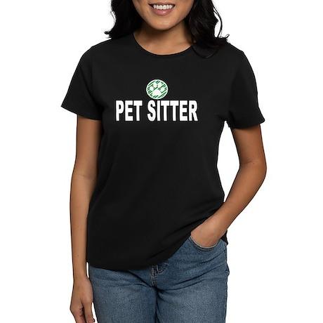 Pet Sitter Green Stripes Women's Dark T-Shirt