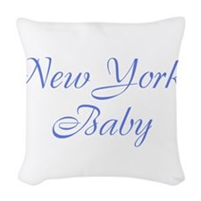 New York baby blue Woven Throw Pillow