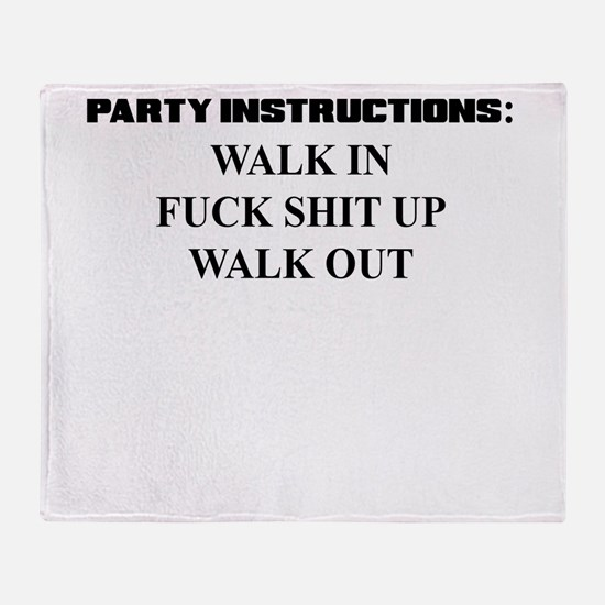 PARTY INSTRUCTIONS Throw Blanket