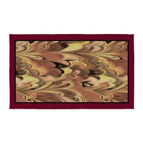 3x5 rug Rust Browns and Gold Marbled 3'x5' Area Ru