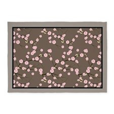 5x7 Pink Cherry Blossoms Brown and Taupe 5'x7'Area