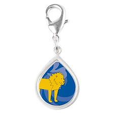 Lion Silver Teardrop Charm