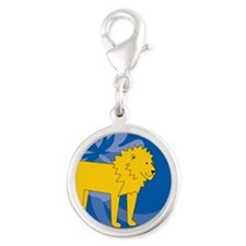 Lion Silver Round Charm