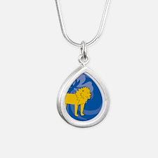 Lion Silver Teardrop Necklace