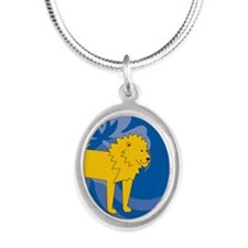 Lion Silver Oval Necklace