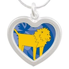 Lion Silver Heart Necklace