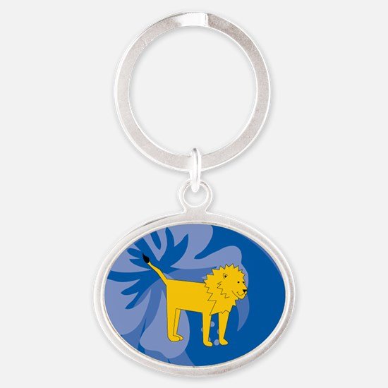 Lion Oval Keychain