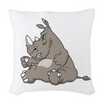 RHINO vvMAD copy.jpg Woven Throw Pillow