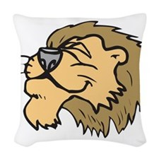silly grinning lion.png Woven Throw Pillow