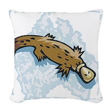 cute australian platypus.png Woven Throw Pillow