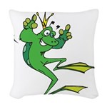 funny prince toad.png Woven Throw Pillow