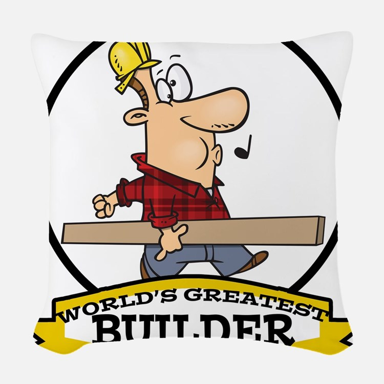 WORLDS GREATEST BUILDER CARTOON.png Woven Throw Pi