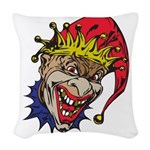laughing evil clown.png Woven Throw Pillow