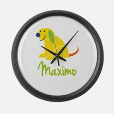 Maximo Loves Puppies Large Wall Clock