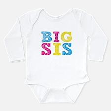 "Colorful ""Big Sis"" Long Sleeve Infant Bodysuit"