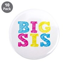 """Colorful """"Big Sis"""" 3.5"""" Button (10 pack)"""