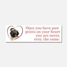 Pug Paw Prints Car Magnet 10 x 3