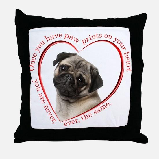 Pug Paw Prints Throw Pillow