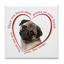 Pug Paw Prints Tile Coaster