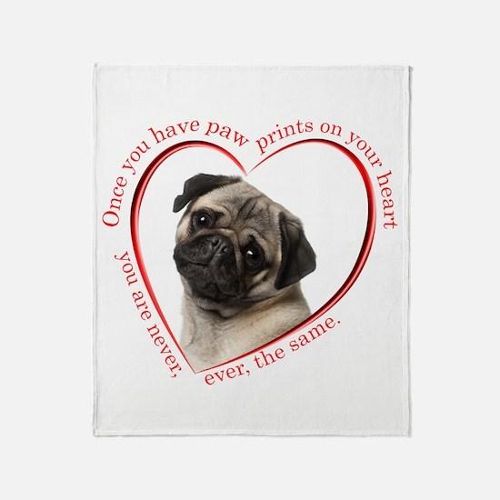 Pug Paw Prints Throw Blanket