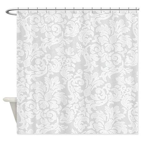 lace pattern white light shower curtain by marshenterprises. Black Bedroom Furniture Sets. Home Design Ideas