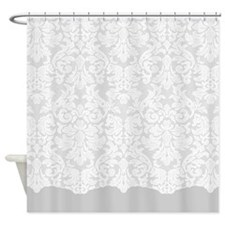 lace pattern - white grey Shower Curtain
