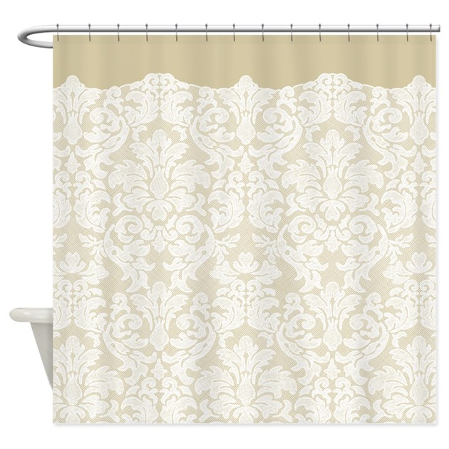 lace pattern white beige shower curtain by marshenterprises. Black Bedroom Furniture Sets. Home Design Ideas