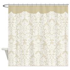 lace pattern - white beige Shower Curtain