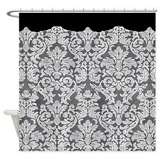 lace pattern - white black Shower Curtain