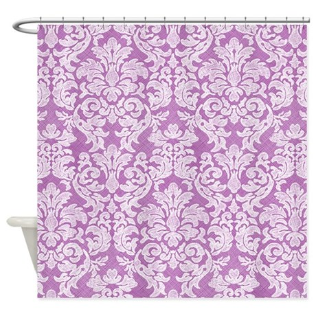 Lace Pattern White Purple Shower Curtain By Marshenterprises