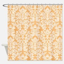 lace pattern - white orange Shower Curtain