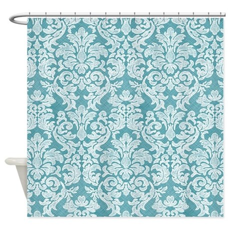 lace pattern - white teal Shower Curtain
