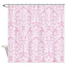lace pattern - white pink Shower Curtain
