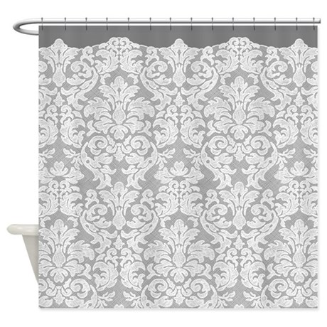 Lace Pattern White Gray Shower Curtain By Marshenterprises
