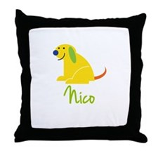 Nico Loves Puppies Throw Pillow