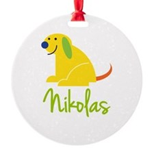 Nikolas Loves Puppies Ornament