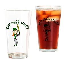 Girl Baseball Player in Green Drinking Glass