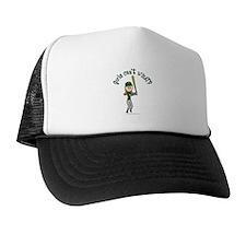 Girl Baseball Player in Green Trucker Hat