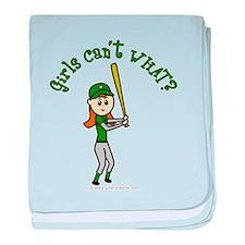 Girl Baseball Player in Green baby blanket
