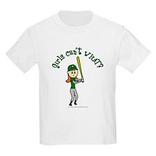 Girl Baseball Player in Green T-Shirt