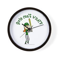 Girl Baseball Player in Green Wall Clock