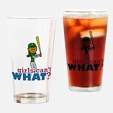 Girl Softball Player in Green Drinking Glass